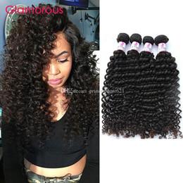 Pure Original Human Hair Canada - Glamorous Brazilian Malaysian Indian Peruvian Hair Weft Deep Wave Curly 100% Original Human Hair 5 Bundles Full Cuticle Virgin Human Hair