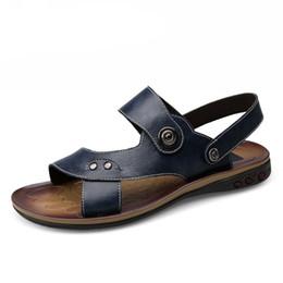 $enCountryForm.capitalKeyWord UK - Genuine Leather Big Size Men Shoes Fashion Flat Sandles Summer Men Shoes Beach Male Sandals Leather Sandals For Men