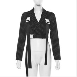 Wholesale black stripes jacket women for sale – custom Women Buckle Belt Suspends Streetwear Stripe Casual Suit Blazer Jacket Long Sleeve Crop Tops Female Short Clothes
