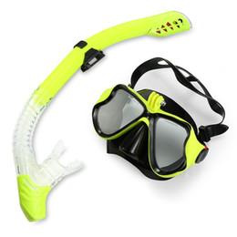 3acf45a6c96 Anti-fog Diving Mask tube set Tempered Glass Full-dry Top Snorkel Eyewear  Swimming glasses mask Adult Optical Myopia Swimming Goggles