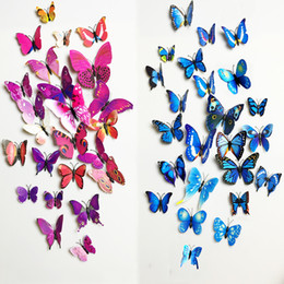 refrigerator cute stickers NZ - 12pcs PVC 3d Butterfly Wall Decor Cute Butterflies Wall Stickers Art Decals Home Decoration Room Wall Art