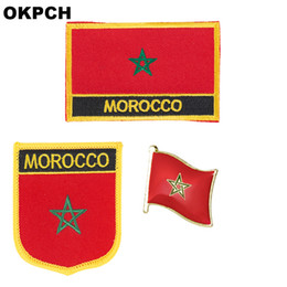 flag patches for clothes NZ - Morocco flag patch badge 3pcs a Set Patches for Clothing DIY Decoration PT0131-3