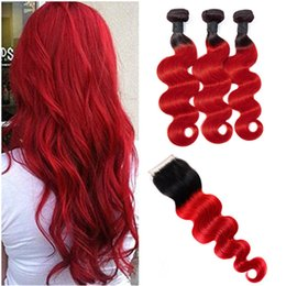 Discount 4x4 hair closure - Brazilian Virgin Hair 3 Bundles With 4X4 Lace Closure 4 Pieces lot 1B Red Body Wave Bundles With Closure Middle Three Fr