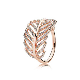 Pandora Gold 18k Australia - 18K Rose gold Feather RING LOGO Original Box for Pandora 925 Silver Engagement Jewelry CZ Diamond Crystal Rings for Women Girls