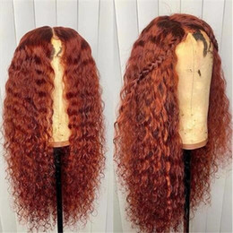 Dark orange wigs online shopping - PAFF Loose Wave Orange Red Full Lace Human Hair Wig Remy Hair Colored Wig For Women Pre plucked Baby Hair