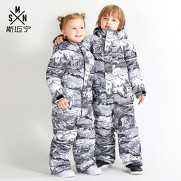 children ski suit Australia - 2019 Kids One Piece Ski Suit Skiing Clothing Boys Girls Super Warm Snowboard Windproof Waterproof Thicken Thermal Children Coat