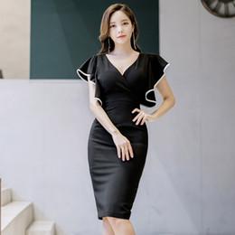 7190274b9bf3 2019 Suit-dress Sexy V Lead Reveal Back Bat Sleeve Spelling Color Package  Tun Xianshou Dress