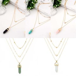 Pendants Green Amethyst Australia - Free DHL Creative Natural Stone Crystal Fashion Opal Fish Scales Hexagonal Column Pendant Necklace Best Gifts for Women Girls D782S Y