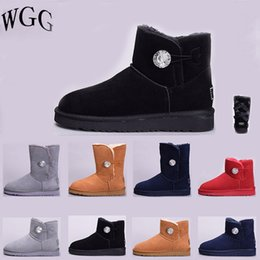 94201d617 2019 Cheap Women Winter Snow Boots Fashion Australia Classic Half Short bow  boots Ankle Knee Bowknot girl lady coffee Red Grey Boot 36-41