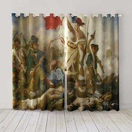 Curtain Painting Australia - Personality Custom curtain world famous painting Liberty Leading the People drapes Extra wide Blackout curtain party decoration background