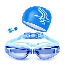 Swim Nose Australia - 4pcs set HD Lens Anti-Fog Swimming Glasses Integrated Earplugs Swim Cap Nose Clip Swimming Eyewear Waterproof Swim Accessories
