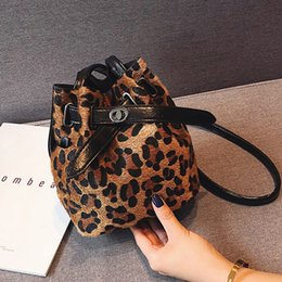 Hand Bags Leopard Prints Australia - Small Bucket Bag for Women 2018 Plush Leopard Print Messenger Crossbody Bags Shoulder Hand B Lady Winter Handbags and Purses