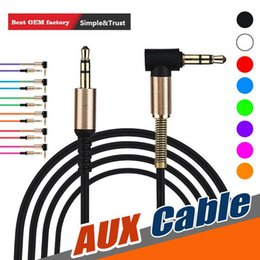 universal spring wire Canada - 1M 3ft male to male aux audio cable spring bend head aux data cable for smart cellphone speaker car Wire Line Aux Cord