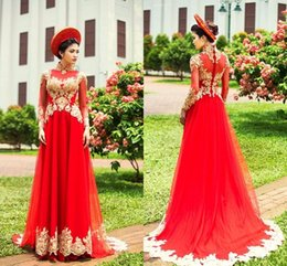 Red High Neck Tulle Dress Australia - Vintage Muslim Evening Dresses High Neck Long Sleeve Gold Lace Applique Tulle Red Floor Length Arabic Dubai Evening Gown Prom Dress