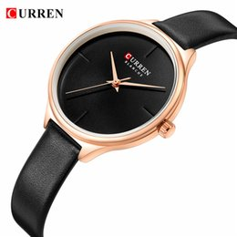 luxury watch slim 2019 - CURREN Women New Fashion Glassy Watches Casual Slim Leather Ladies Wristwatch Elegant Waterproof Black Luxury Female clo