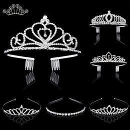 Wholesale Bridal Crystal Tiaras And Crowns Headband Kid Flower Girls Bridesmaid Wedding Hair Accessiories Hair Jewelry T190625