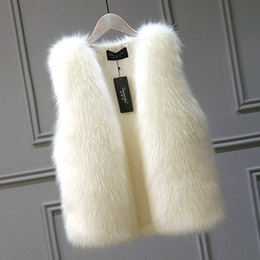 Plus Size Faux Fox Vest Australia - Winter Women Faux fur vest jacket Fashion Loose Faux Fox Fur Short Vests coat Womens Thick warm Hairy Vest Female Plus size