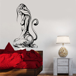 sexy cartoon beautiful UK - Wall Decal Sexy Girl Cat Animal Abstract Pattern Beautiful Sticker Art Decor Wall Decals living Wall Sticker