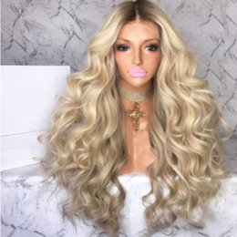 Fiber Root Australia - Sweetheart Middle Part Glueless Dark Roots Blonde Body Wave Synthetic Lace Front Wigs Heat Resistant Fiber Ombre Blonde Wigs For Women