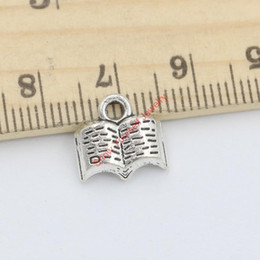 making books UK - Wholesale- 30pcs Tibetan Silver Tone Plated Books Charms Pendants for Bracelet Necklace Jewelry Making DIY Handmade 11x12mm