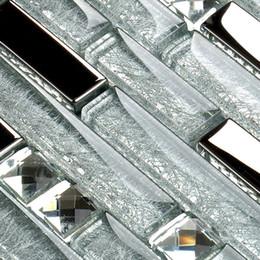 Wholesale Diamond glass tiles kitchen backsplash silver mirror interlocking crystal glass wall bathroom tiles SSMT311