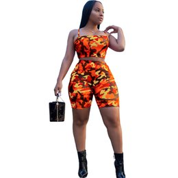 Chest Clothes UK - 19 Explosive European and American Sexy Women's Clothing Camouflage Printed Chest-wrapped Shorts Sports Suit Sportswear