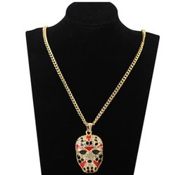 $enCountryForm.capitalKeyWord Australia - Face Pendant Necklace Mask Shape Hip Hop Jewelry With Iced Out Chains Alloy Rhinestone Necklace Personality Punk Jewelry Wholesale