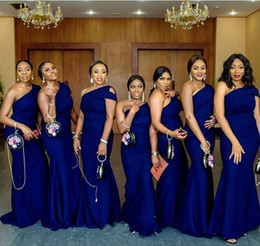 Wholesale Blue One Shoulder Mermaid Bridesmaid Dresses Sweep Train Simple African Garden Country Wedding Guest Gowns Maid Of Honor Dress Plus Size