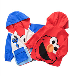 $enCountryForm.capitalKeyWord NZ - Spring and Autumn Baby Jacket Hooded Sesame Cookie Elmo Double-faced Outwear Children Cartoon Trench Coat With Pocket Ziper Outfits M446