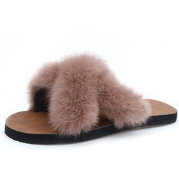 $enCountryForm.capitalKeyWord NZ - Hot Sale Winter Women Home Slippers with Faux Fur Fashion Warm Shoes Woman Slip on Flats Female Slides Black Khaki White