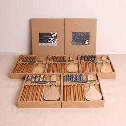 $enCountryForm.capitalKeyWord Australia - 6 Pcs Lot Kitchen Bamboo Chopsticks 8 Designs Wooden Cooking Spoon Wedding Tableware Set Gift 20 Lots DHL