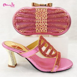 pink glitter shoes NZ - Pink Color Wedges Italian Design Shoes with Matching Bag African Shoe and Bag Set Italian African Shoes and Bag Set for Parties