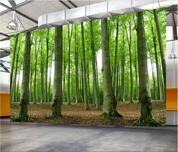 Nature Paintings Wallpaper Australia - 3d room wallpaper cloth custom photo mural Forest nature scenery woods landscape painting living room TV background wallpaper for walls 3 d