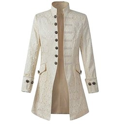 gothic clothing brands UK - Print Puimentiua Mens Vintage Long Sleeve Coat Plus Size Brands Fashion Gothic Brocade Jacket Frock Coat Steampunk Jacket Clothing