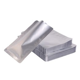Foldable Flats Wholesale UK - Silver white Pure Aluminum flat bag-mylar pistachios nut coffee ban packing sack Aluminum Foil Open Top Vacuum Food Grade Packaging Bags