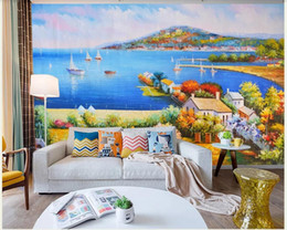 Mediterranean Houses Paintings Australia - 3d room wallpaper custom photo mural Three-dimensional oil painting mediterranean landscape mural wall art pictures wallpaper for walls 3 d