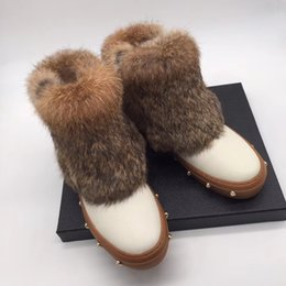 Rabbit fuR heels online shopping - 2019 winter womens black white real leather Rabbit fur Collar warm flat platform soles luxury gold studs pull on snow boots