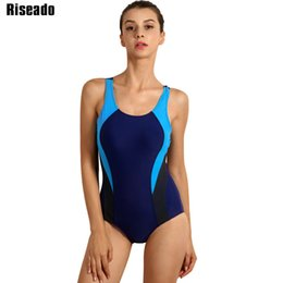31b8823444443 Riseado New 2019 Sport One Piece Swimsuit Competitive Swimwear Women  Swimming Suits For Women Patchwork Bathing Suits T3190601