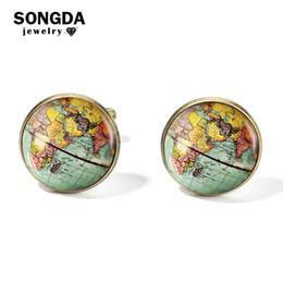 Globe Glasses Australia - SONGDA Vintage Earth World Map Cufflinks Globe Planet Art Photo Crystal Glass Dome Shirt Cuff Links for Men Personalized Gemelos