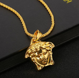 Gold choker necklace initials online shopping - Hot hip hop medusa Pendant Necklaces for men jesus christ gold pendant Necklaces PUNK Choker fashion Jewelry accessories