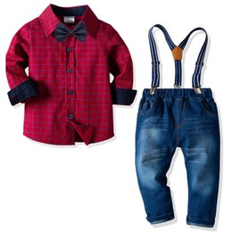 Jeans kids suspenders boys online shopping - 2019 Spring Autumn Fashion kids clothes kids designer clothes boys Clothing Sets long sleeve bow tie shirt Jeans suspender trousers A2693