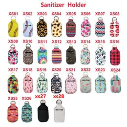 Wholesale 28 Style Key Rings Hand Soap Bottle Holder Neoprene Hand Sanitizer Bottle Holder Keychain Bags 10*6CM Customized Service