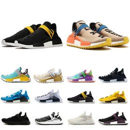 4a4a861948e79 2019 Top Human Race Mens Running Shoes With Box Pharrell Williams Sample  Yellow Core Black athletic Sport Designer Shoe Women Sneakers 36-47