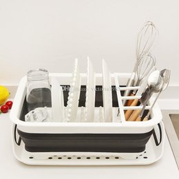 $enCountryForm.capitalKeyWord Australia - New Foldable Dish Rack Set Dish Cutlery Cup Rack With Tray Kitchen Shelf Folding Plate Portable Drying Rack