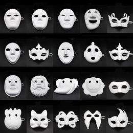 diy party halloween masks NZ - Papper DIY Party Mask Creative Painting Halloween Chirstmas Party Mask Children Women Men DIY Half Face Full Face Masks HHA666