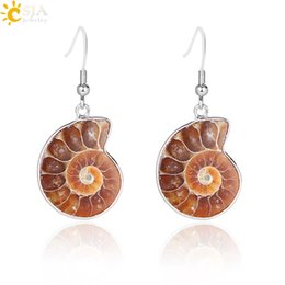 $enCountryForm.capitalKeyWord UK - CSJA Women Gift Natural Snail Ammonite Spiral Whorl Conch Shell Fossils Nature Color Animal Pendant Dangle Hook Earring E105