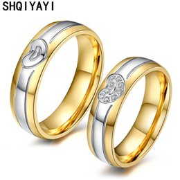 promise rings man woman 2019 - SHQIYAYI Couple Wedding Rings Stainless Steel CZ Stone Anniversary Engagement Promise Ring for Women Men Fashion Jewelry