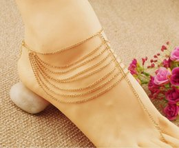Anklet Toe Chain Australia - Gold Beach Fashion Multi Tassel Toe Bracelet Chain Link Foot Jewelry Anklet for women and girls -P