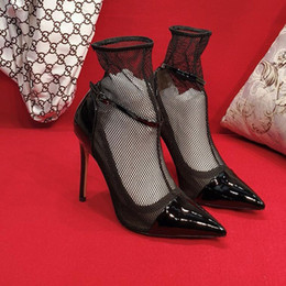 Comfortable Soft Women Shoes Australia - New fashion Women high heels Transparent material Soft and comfortable Hate Tiangao Women's Lace Shoes Heel height: 10.5cm Lace fabric
