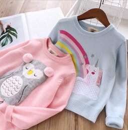 $enCountryForm.capitalKeyWord Australia - 2019 New Girls rainbow tassel unicorn embroidery sweater kids pompon owl princess pullover children cartoon knitted long sleeve jumper F8960